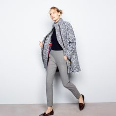 J.Crew Looks We Love: women's bouclé cocoon coat, Tippi sweater, Martie pant, pocket square and Collins tortoise loafers.
