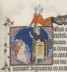 st do en prédication, 1265, Breviarium ad usum fratrum Predicatorum, vol. II (partie été), BNF Latin 10484, fol. 271v, 2