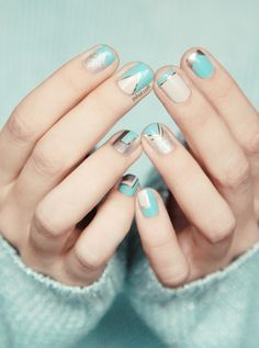 metallic and baby blue nails