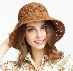 Hollow bucket hat with bow for women UV protection straw hats summer