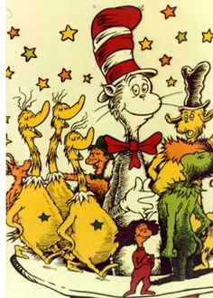 The Cat in the Hat by Dr. Seuss---  Theodor Seuss Geisel was an American writer, poet, and cartoonist most widely known for his children's books written under the pen names Dr. Seuss, Theo LeSieg and, in one case, Rosetta Stone.