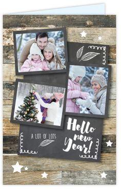 Hippe foto nieuwjaarskaart met houtprint en ruimte voor drie eigen foto's, sterren patroon en krijtbord print. Gratis verzending in Nederland en België.