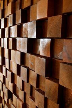 Block Wall, Textured Walls, Curved Walls, Interior Walls, Interior Design  Inspiration, Wood Blocks, Wall Treatments, Wall Ideas, Wood Walls