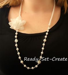 Flower pearl necklace; made for my sister-in-law