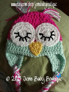 Crochet Sleepy Owl Hat w/ earflaps and pigtails