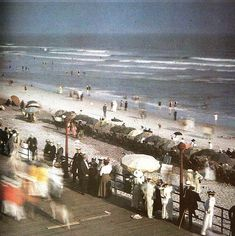 Color photographs of Edwardians at the seaside, England, 1910's.  Autochrome color photo