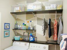 small laundry area organized