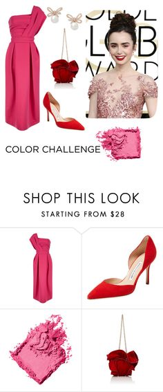 """My Pink and Red Inspo"" by heganmeppard ❤ liked on Polyvore featuring Preen, Manolo Blahnik, Bobbi Brown Cosmetics, Nina Ricci, colorchallenge, redandpink and LillyCollins"
