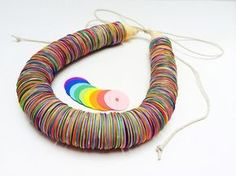 Paper necklace Paper jewelry Colorful Rainbow by TheCreativeBee