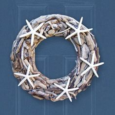The Blue Door at Pasadena has this beautiful natural driftwood and starfish wreath make for personal customization!