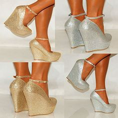 Ladies Womens Gold Silver Glitter Shimmer Court Wedges Platforms High Heels Party Prom Shoes 3-8 (UK6/EURO39, Gold Shimmer)