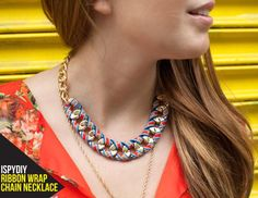 DIY Necklace  : DIY Ribbon Wrapped Chain Necklace