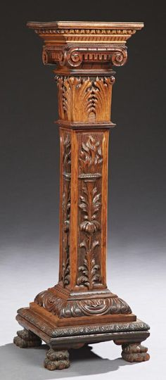 American Victorian Carved Oak Pedestal, late 19th century.
