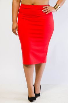 Chic Solid Pencil Skirt