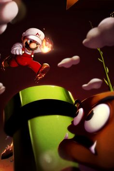 Flamepocalypse Mario by KendrickTu.deviantart.com on @deviantART