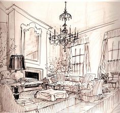 Commission an original ink house drawing architectural for Famous black interior designers