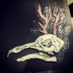 Skull horn , drawing & papercut 2013