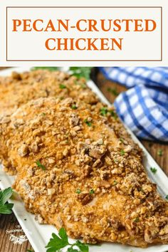 Serve a plate of baked Pecan Crusted Chicken for a flavorful, easy dinner that's ready for the oven in just 15 minutes! The chicken breasts are coated in crunchy toasted pecans so that they're crispy on the outside, but tender and juicy on the inside. Chicken Breast Recipes