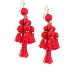 Kate Spade New York Pretty Poms Tassel Statement Earrings ($98) ❤ liked on Polyvore featuring jewelry, earrings, red, kate spade, beaded chandelier earrings, beaded earrings, pom pom earrings and red statement earrings
