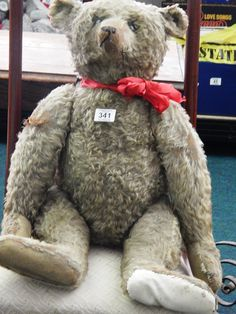 Here is a Vintage Stieff Bear 27 inches height in  need of loving home it will be sold tomorrow in our sale from 10 am with no reserve
