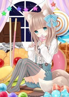 anime girl as cat with lollipop Anime Neko, Anime Manga, Anime Art, Neko Cat, Beautiful Anime Girl, I Love Anime, Awesome Anime, Kawaii Neko Girl, Kawaii Art