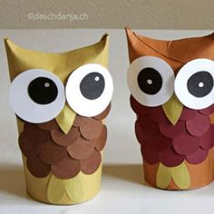 ❤ Adorable toilet paper tube owls ❤Mindy – craft idea & DIY tutorial collec… - Fall Crafts For Toddlers Toilet Paper Roll Crafts, Paper Plate Crafts, Paper Crafts For Kids, Crafts For Kids To Make, Paper Plates, Bird Crafts, Bunny Crafts, Easter Crafts, Paper Bunny