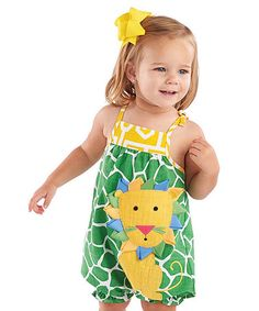 Another great find on #zulily! Yellow & Green Lion Romper - Infant #zulilyfinds