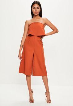 Missguided - Orange Layered Culottes Jumpsuit
