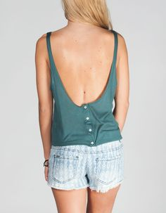 Button Back Womens Swing Top