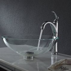 Kraus C-GV-100-12mm-1005 Crystal Clear Glass Vessel Sink and Riviera Faucet