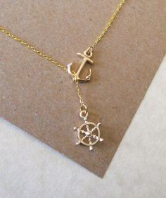 Gold Nautical Lariat Necklace with Anchor by MelissaMarieRussell, $19.75
