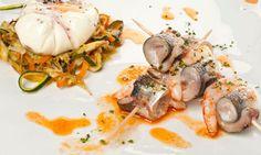Receta de Huevo flor con verduritas y brocheta de sardinas