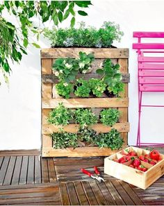DIY Pallet Vertical Garden - 30 DIY Pallet Garden Projects to Update Your Gardens - DIY & Crafts