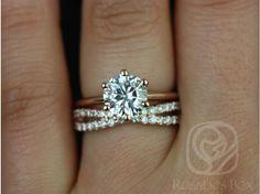 Rosados Box Skinny Webster 7.5mm & Lima Rose Gold Round FB Moissanite Six-Prong Webbed Wedding Set