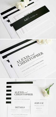 Glamorous Black and White striped wedding invitation suite. Perfect for an elegant yet modern wedding! #shineweddinginvitations