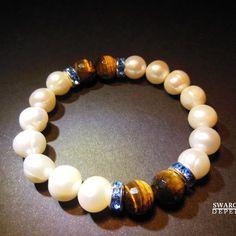 15 €   PULSERA CLASSIC GOA BOGOTA Pearl and tiger eye cristal bracelet pulsera perlas cultivadas ojo de tigre y cristal checo  collar pulsera perlas swarovski joyeria necklace bracelet pearls crystal jewelry  http://iaguirreb.wix.com/deperlas#!blank-2/c1ger
