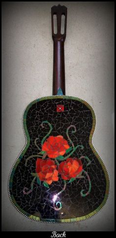 mosaic custom rose tattoo acoustic art guitar