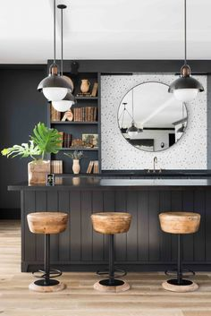 Rustic meets urbane in this bar by ft. a trio of Caymus stools. Come have a look at furniture by available here Black Bedroom Decor, Black Decor, Black Bedrooms, Home Interior Design, Interior Styling, Interior Decorating, Design Café, House Design, Design Ideas
