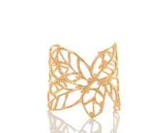 Minerva Leaf Cuff with Diamonds set in 18k Gold - www.annaruthhenriques.com