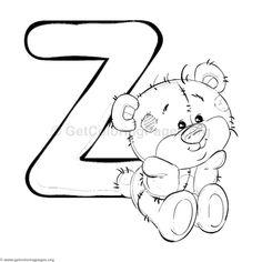 Teddy Bear Alphabet Letter Z Coloring Pages Coloring Letters, Alphabet Coloring Pages, Colouring Pages, Adult Coloring Pages, Coloring Books, Coloring Sheets, Doodle Alphabet, Alphabet Design, Animal Alphabet