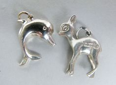 "VINTAGE STERLING SILVER "" BAMBI / DEER / FAWN "" & "" DOLPHIN "" CHARMS PENDANT x 2"