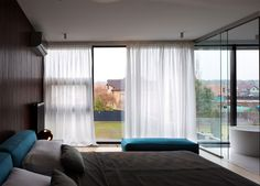 Ukraine House with Character   Combination of Contemporary and Rustically Domestic Styles floor to ceiling windows bedroom1