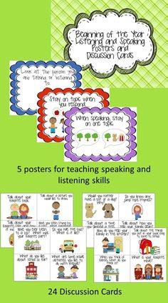 $ Listening and speaking in the Kindergarten common core refers to listening and speaking about Kindergarten topics. This product is a set of 5 posters with guidelines on listening and speaking and 24 cards with discussion topics. The discussion topics are specially designed to tap into the prior knowledge that students come to school with! Students are encouraged to talk about themselves, their friends, their families and their favorite things!