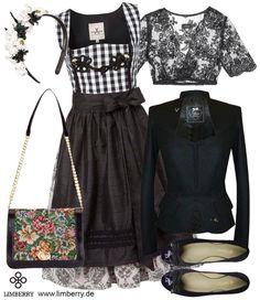 """LIMBERRY BLACK AND WHITE - Das JAN&INA Dirndl """"Mademoiselle"""" erlaubt jeder Frau einen stilvollen Auftritt. Passende Accessoires runden den Trachten Look ab"""