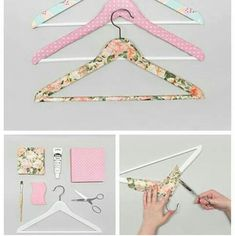 Pimp your clothes hanger Scrap Fabric Projects, Diy Craft Projects, Fabric Crafts, Sewing Crafts, Diy Tumblr, Diy Clothes Hangers, Diy Hangers, Crafts To Make, Diy Crafts