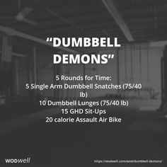 5 Rounds for Time 5 Single Arm Dumbbell Snatches 7540 lb 10 Dumbbell Lunges 7540 lb 15 GHD SitUps 20 calorie Assault Air Bike Crossfit Kettlebell, Crossfit Workouts At Home, Kettlebell Training, Kettlebell Benefits, Crossfit Leg Workout, Emom Workout, Dumbbell Workout, Assault Bike Workout, I Work Out