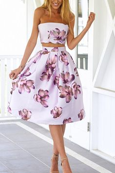 Sexy Wrapped Chest Print Midi Dress -YOINS