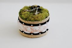 Moss Ring Bearer Pillow with Burlap and Flower by WhimZeeCal, $25.00