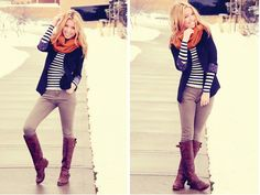 Did I mention my love for stripes, boots, scarves, and blazers?!?!!