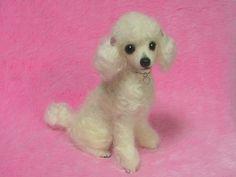 Needle Felted White Poodle: Miniature Needle Felt Dog, Needle Felting